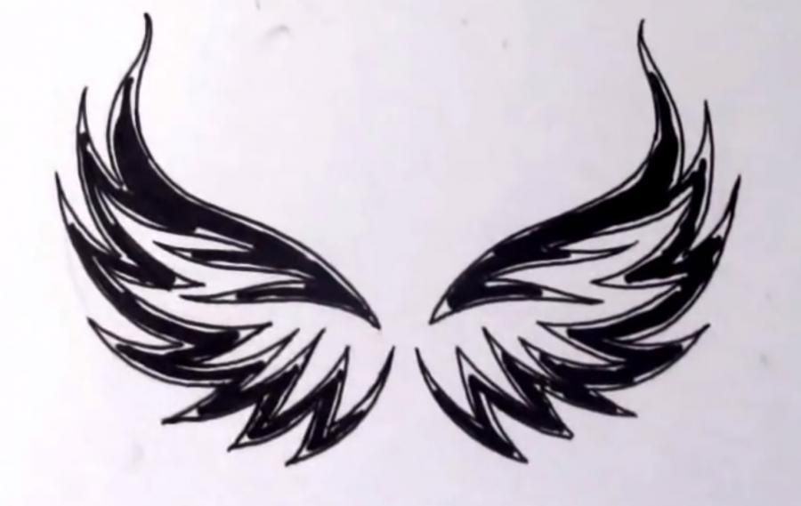 How to learn to draw wings in style of a tattoo step by step