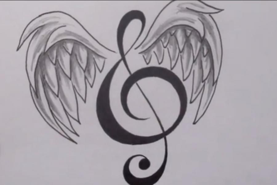 How to draw with a pencil a tattoo: a note with wings step by step