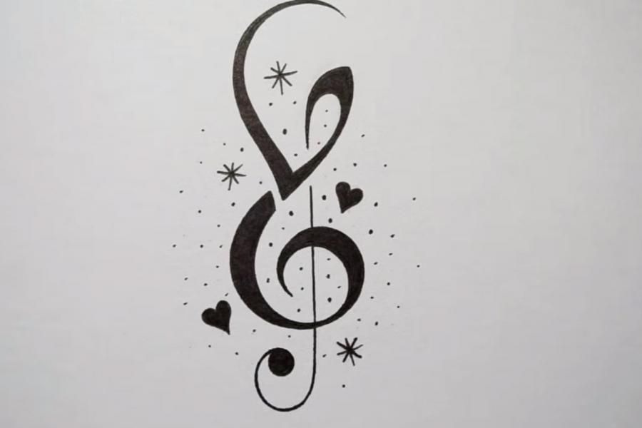 How to draw a treble clef in style of a tattoo on paper step by step