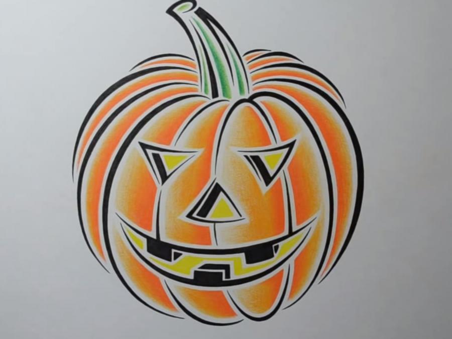 How to draw pumpkin in style of a tattoo with a pencil step by step