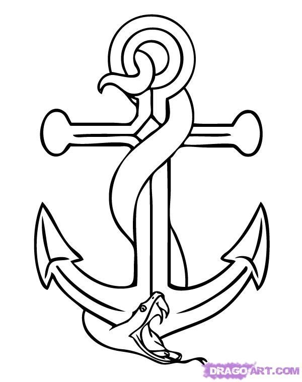 How to draw an anchor with a snake a pencil step by step
