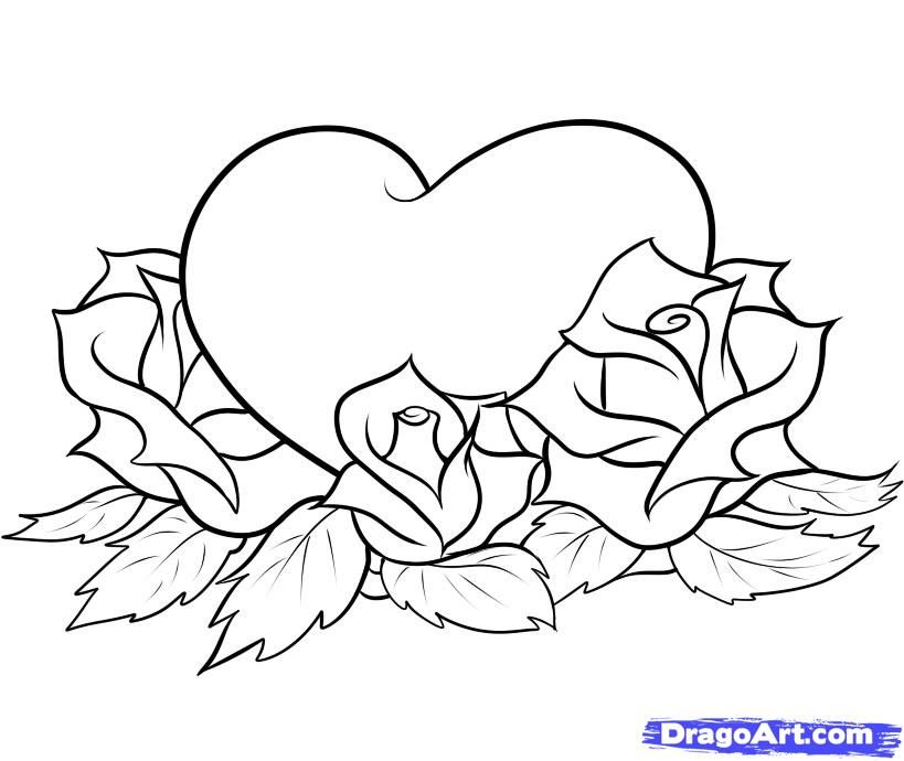 How to draw heart with roses a pencil step by step
