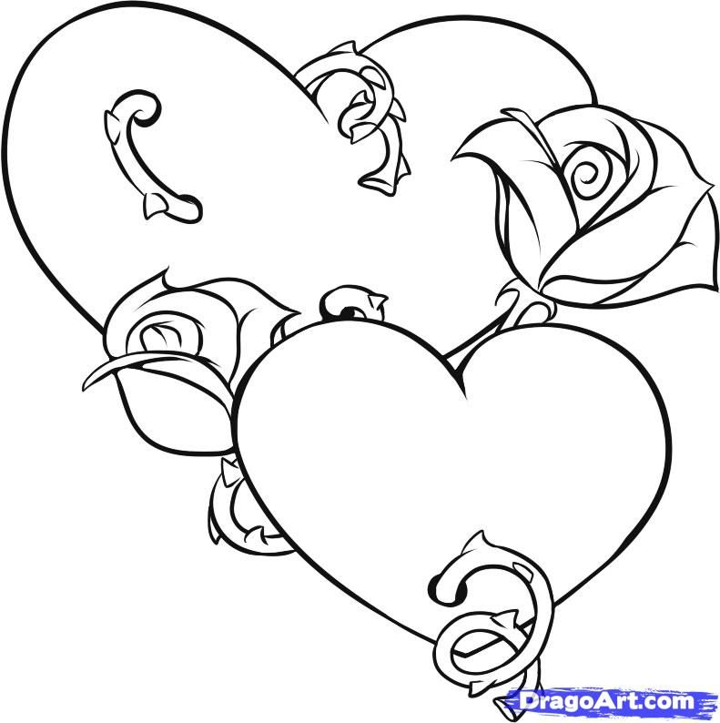 How to draw two Hearts with roses a pencil step by step