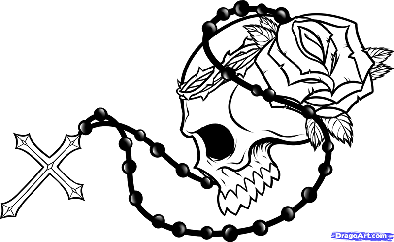 How to draw a skull with a rose beads and a cross on paper a pencil