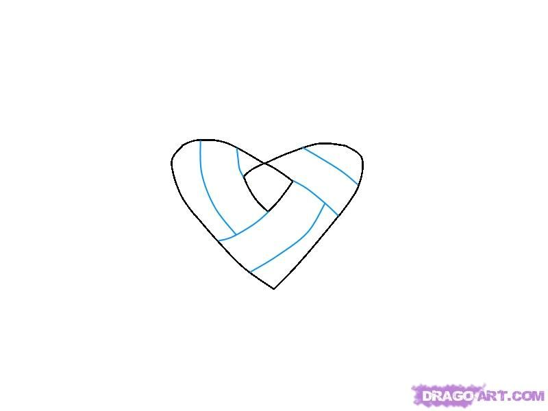 How to draw heart with an edge a pencil step by step 3