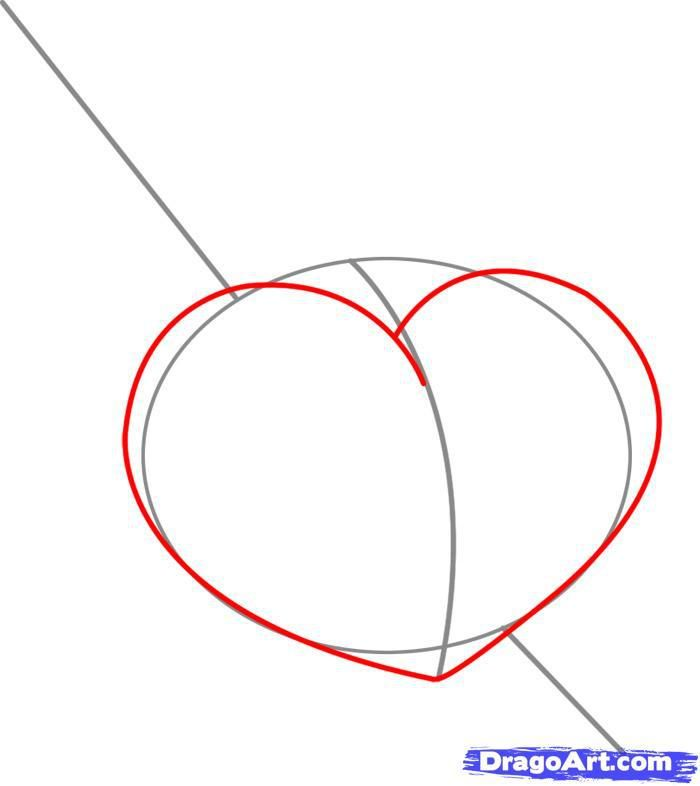 How to draw heart with wings of a butterfly step by step 3
