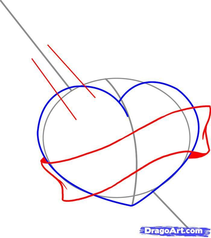 How to draw heart with wings of a butterfly step by step 4