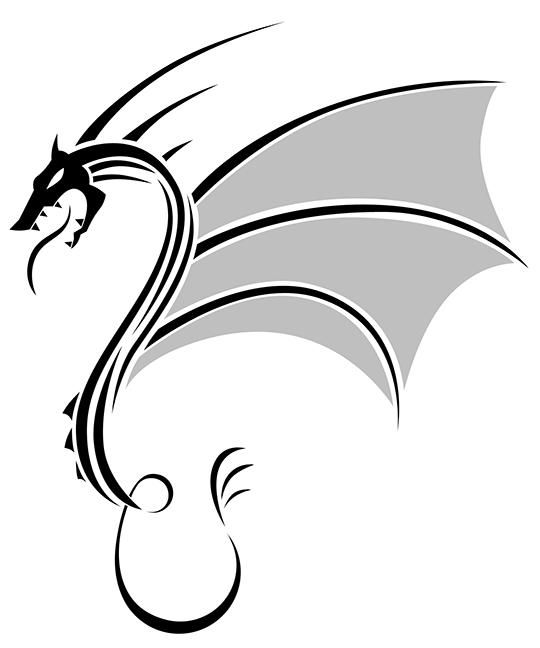 How to draw a dragon in style of a tattoo with a pencil step by step