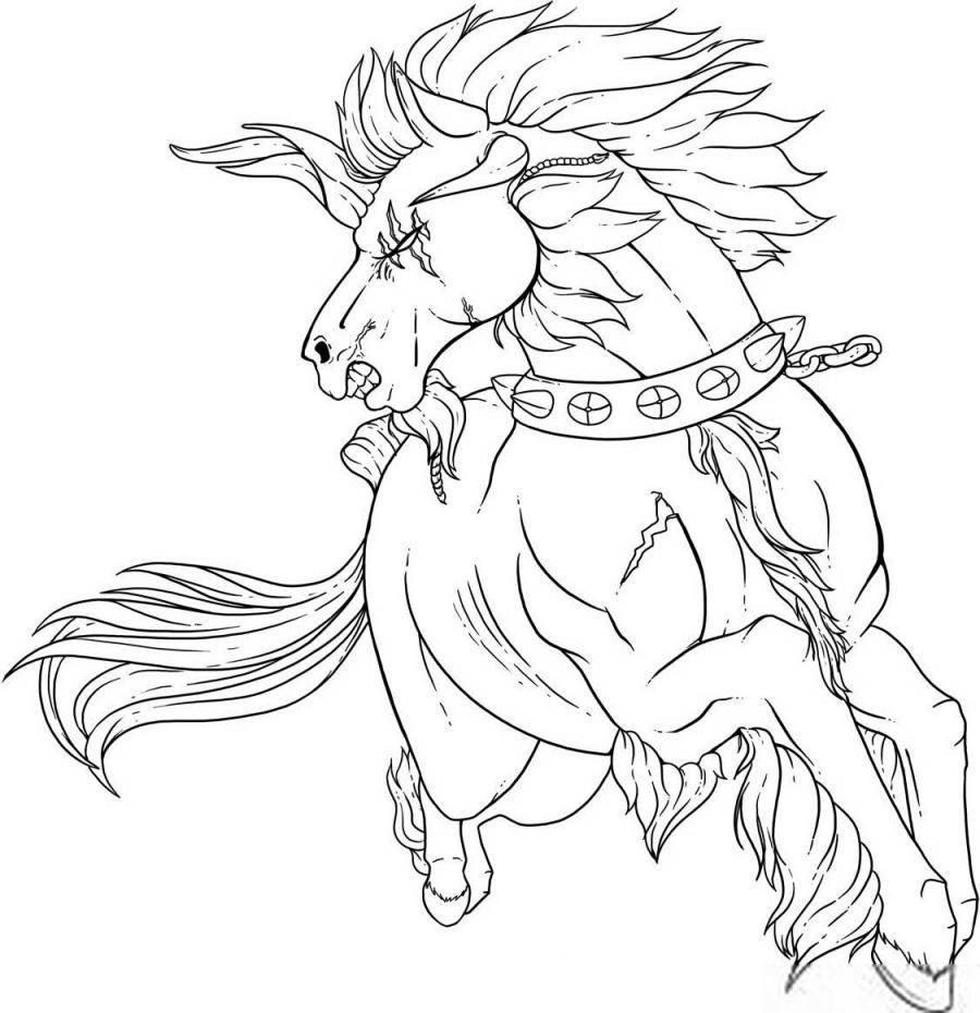 How to draw a tattoo of a fighting horse with a pencil step by step