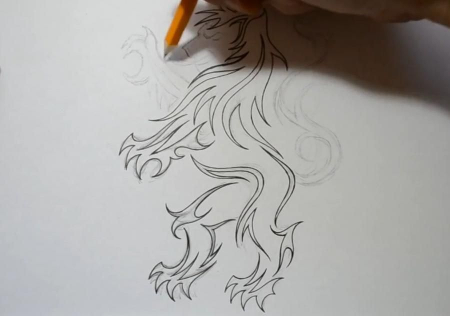 How to draw a dolphin tattoo with a pencil step by step 4