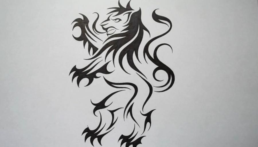 How to draw a lion tattoo on paper with a pencil step by step