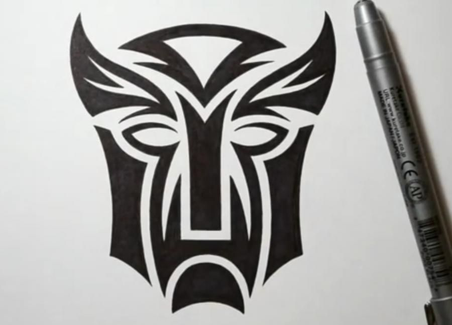How to draw a tattoo a logo of transformers with a pencil