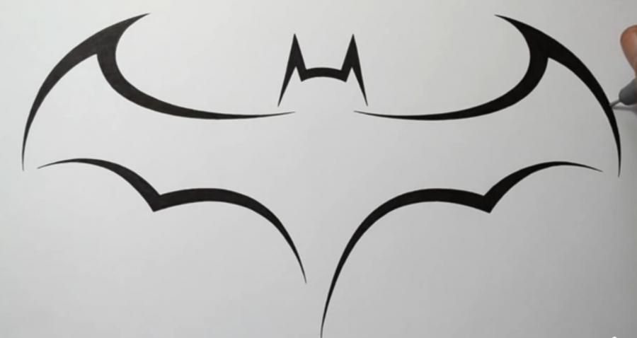 How to draw the batman's sign in style of a tattoo with a pencil step by step
