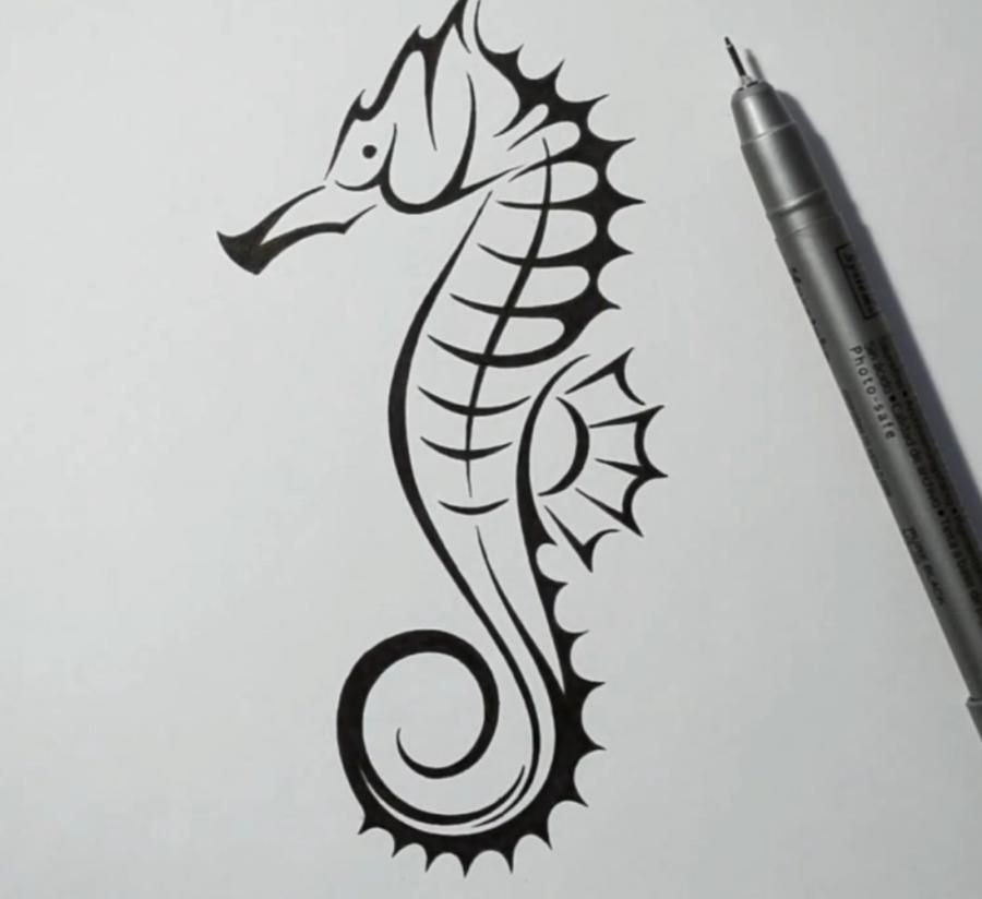 How to draw a tattoo of a sea horse with a pencil step by step