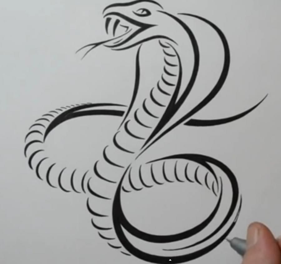 How to draw a tattoo of a snake with a pencil on paper
