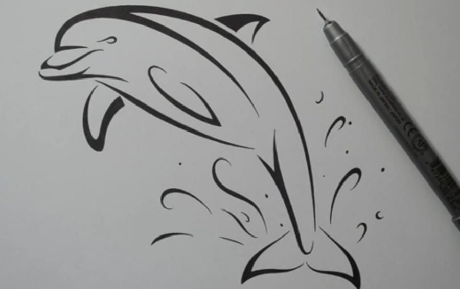 How to draw a dolphin tattoo with a pencil step by step