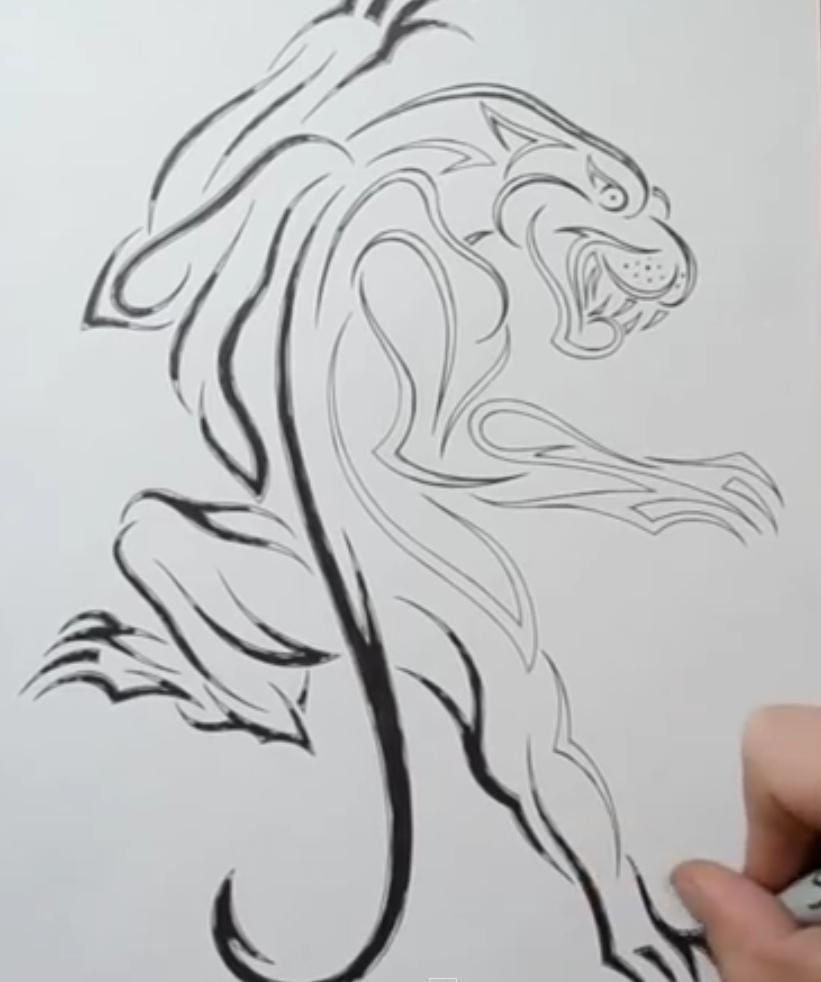 How to draw a tattoo of fish with a pencil step by step 5
