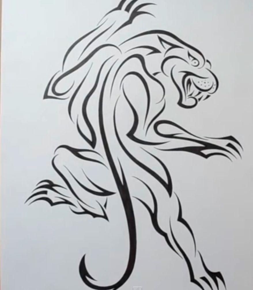 How to draw a panther tattoo on paper with a pencil