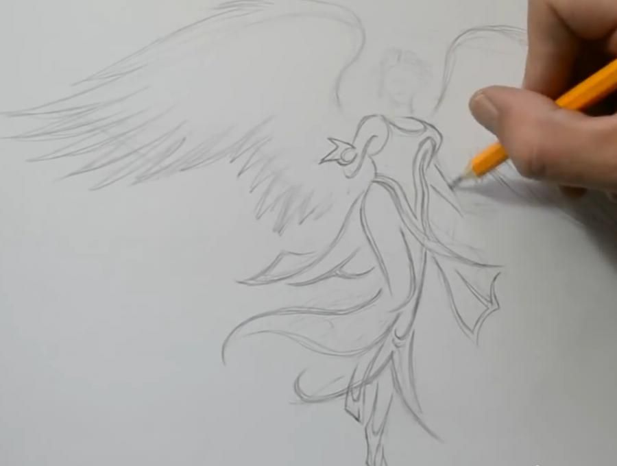 How to draw a tattoo a butterfly with a pencil step by step 4