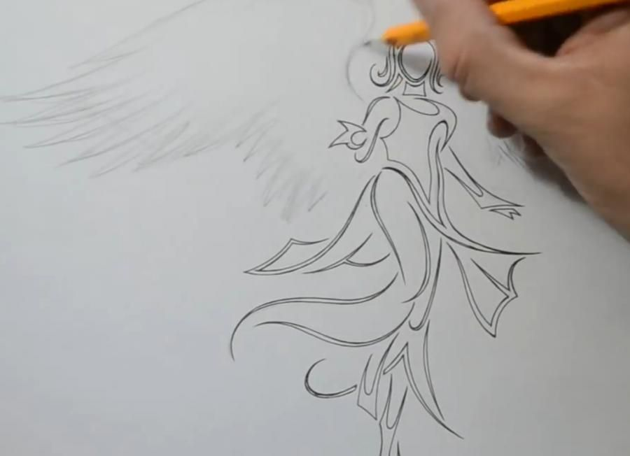 How to draw a tattoo a butterfly with a pencil step by step 5
