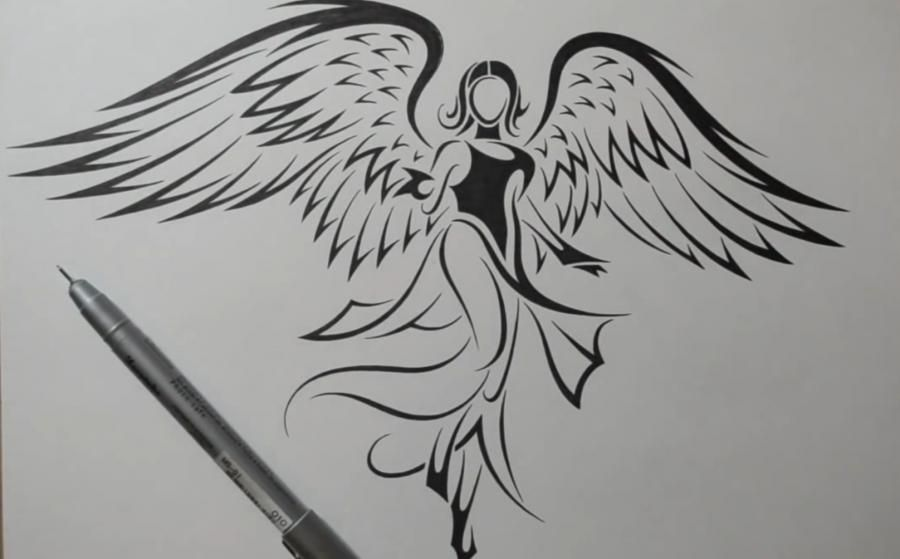 How to draw a tattoo of an angel on paper with a pencil step by step