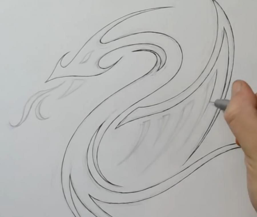 How to draw a lily in style of a tattoo on paper step by step 3