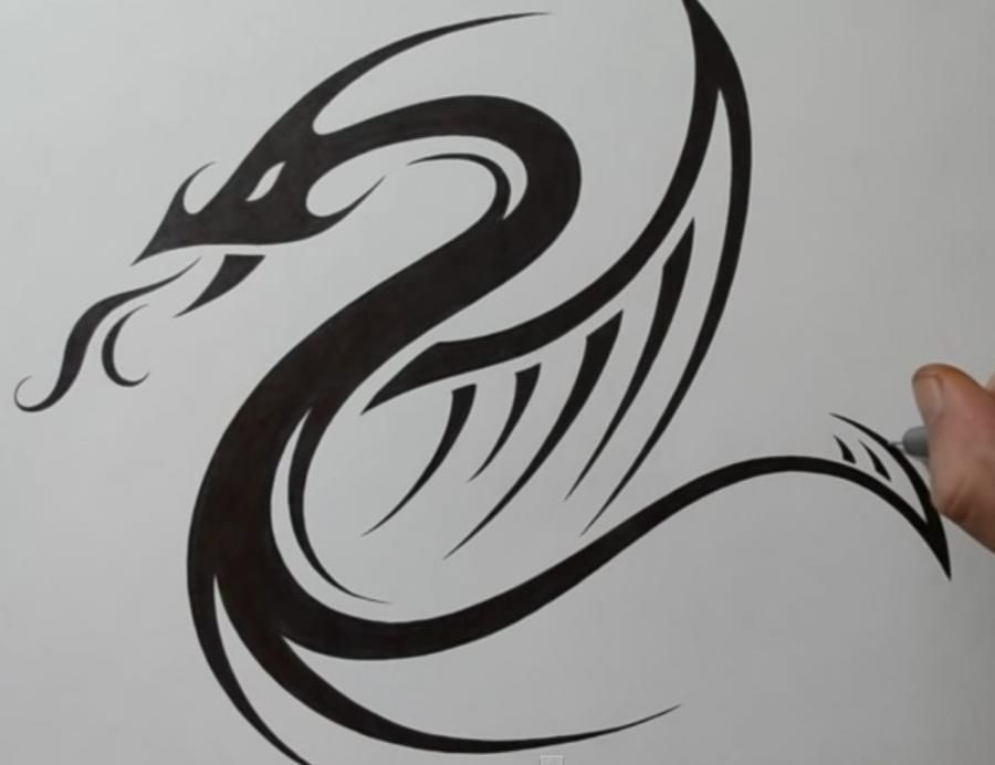 As it is easy to do a tattoo of a dragon on paper a pencil step by step