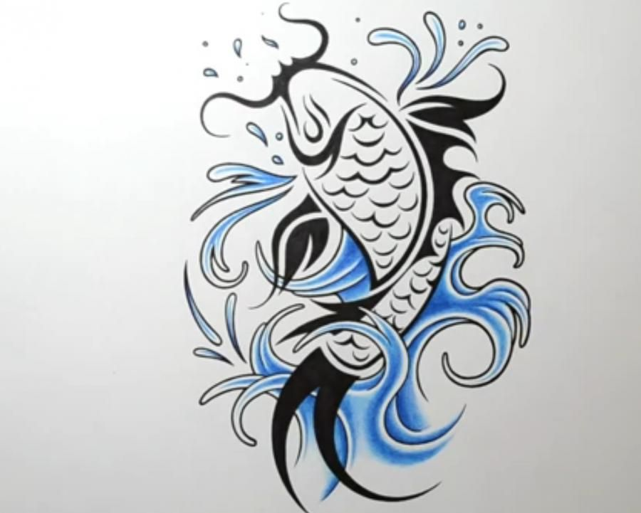 How to draw a tattoo of fish with a pencil step by step
