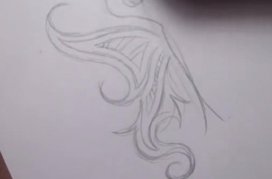 How to do a tattoo a tree on paper step by step 3