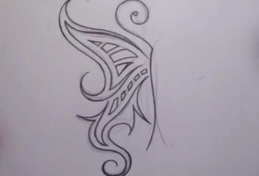 How to do a tattoo a tree on paper step by step 4