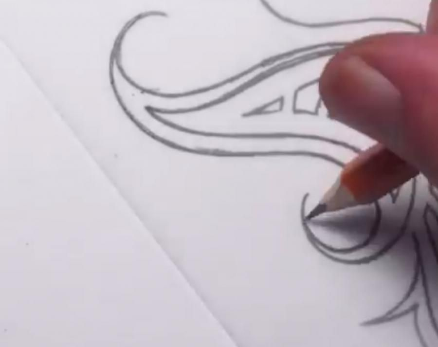 How to do a tattoo a tree on paper step by step 5
