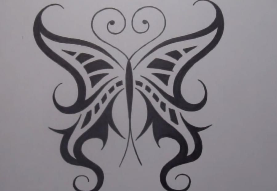 How to draw a tattoo a butterfly with a pencil step by step