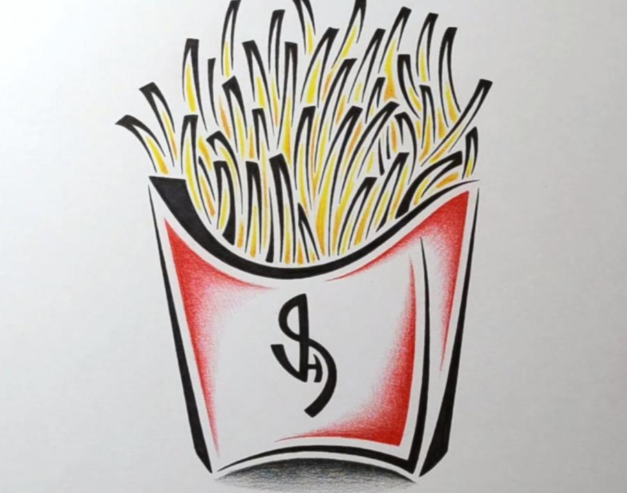 How to draw French fries in style of a tattoo with a pencil step by step