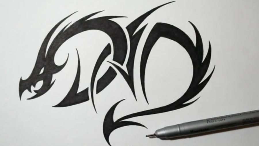 How to draw a dragon tattoo on paper step by step