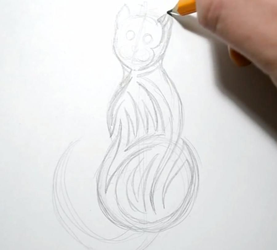 How to draw a tattoo in the form of a snail with a pencil step by step 2
