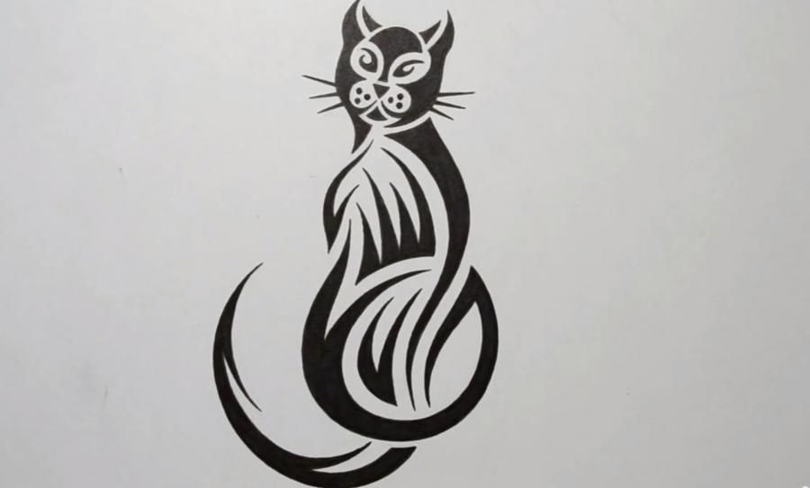 How to draw a cat in style of a tattoo on paper step by step