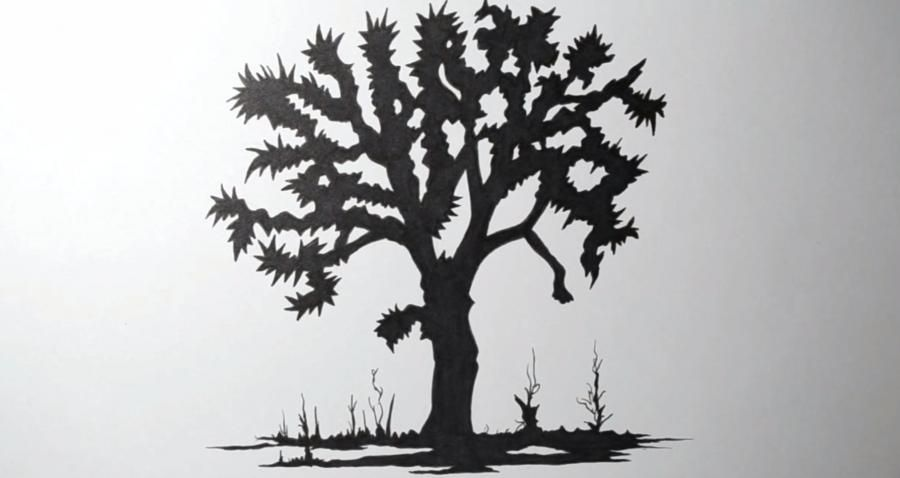 How to do a tattoo a tree on paper step by step