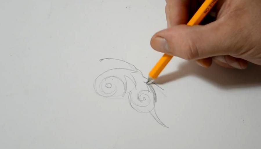 How to draw a tattoo of an octopus with a pencil on paper step by step 2