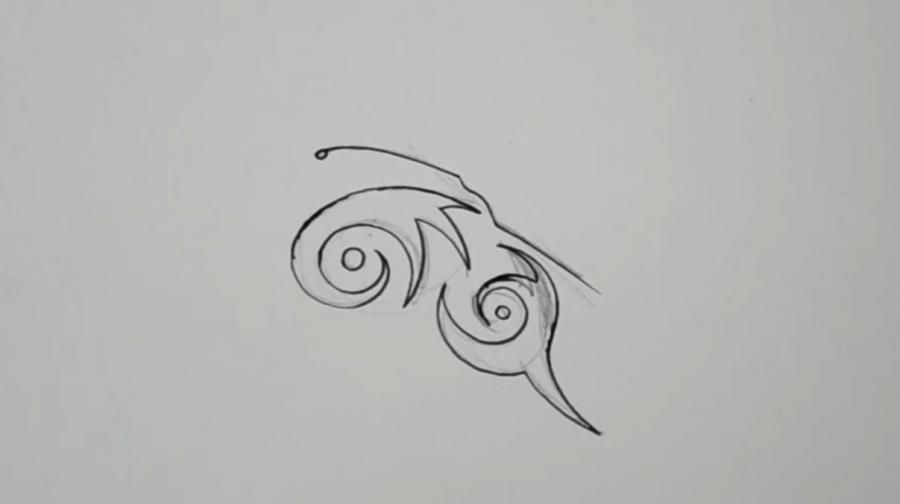 How to draw a tattoo of an octopus with a pencil on paper step by step 3