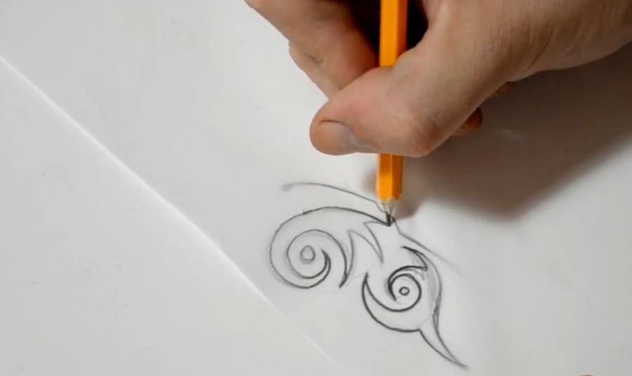 How to draw a tattoo of an octopus with a pencil on paper step by step 4