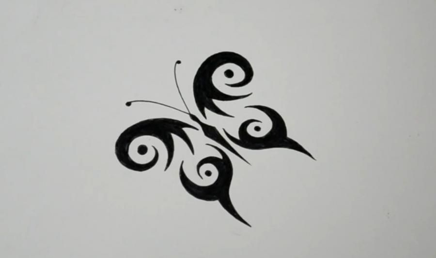 How to draw a butterfly in style of a tattoo with a pencil step by step