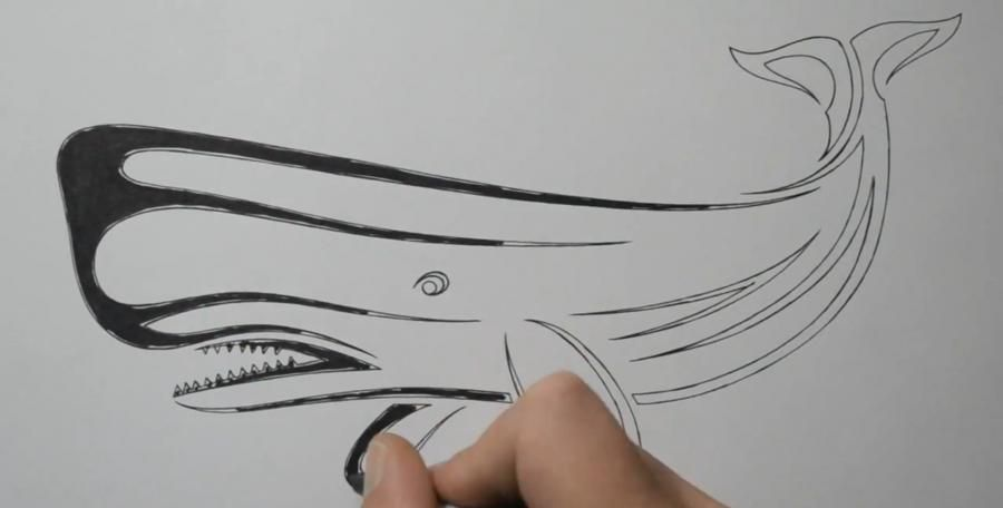 How to draw a tattoo of a wolf with a pencil step by step 4