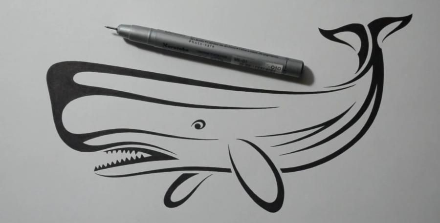 How to draw a tattoo in the form of a whale with a pencil on paper step by step