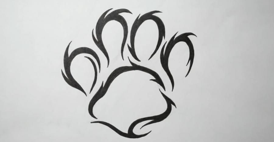 How to draw a trace of a dog in style of a tattoo with a pencil step by step