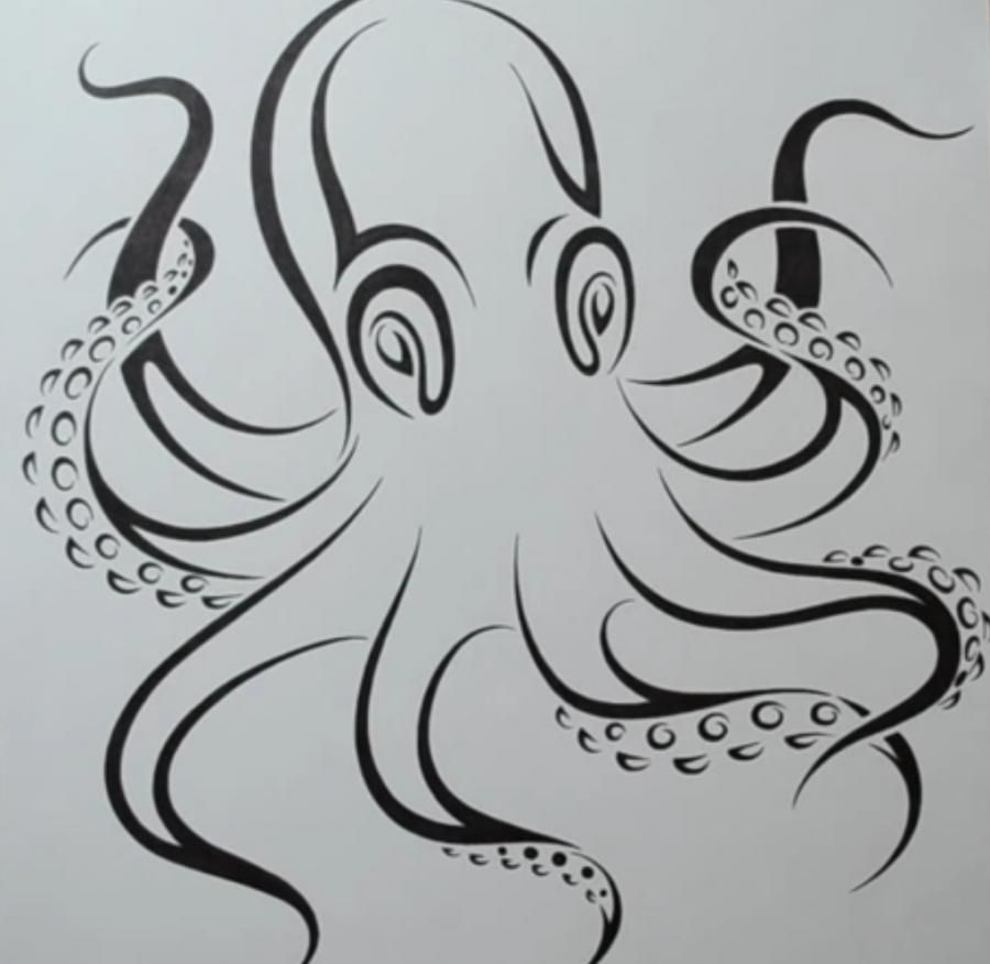 How to draw a tattoo of an octopus with a pencil on paper step by step