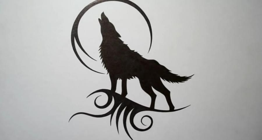 How to draw a tattoo of a wolf with a pencil step by step