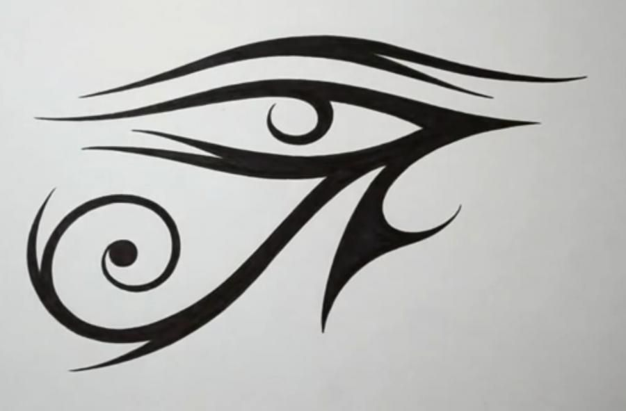 How to draw Oko Ra (an Eye of Ra) in style of a tattoo step by step
