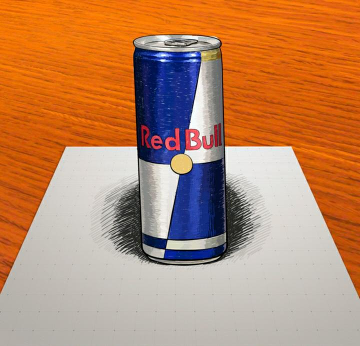 How to draw to Red Bull bank in 3D on paper step by step