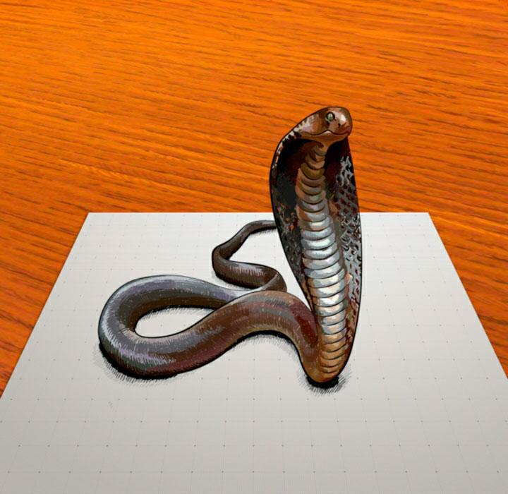 How step by step to draw a cobra in 3D on paper