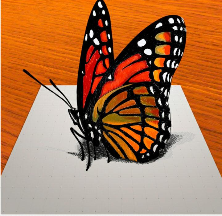 How to draw a butterfly in 3D on paper step by step